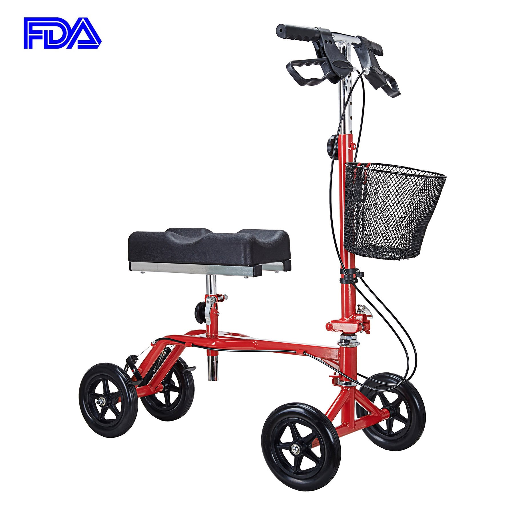 CO-Z Steerable Foldable Knee Walker Rover Scooter - Double Brakes Handle with Basket (Red)