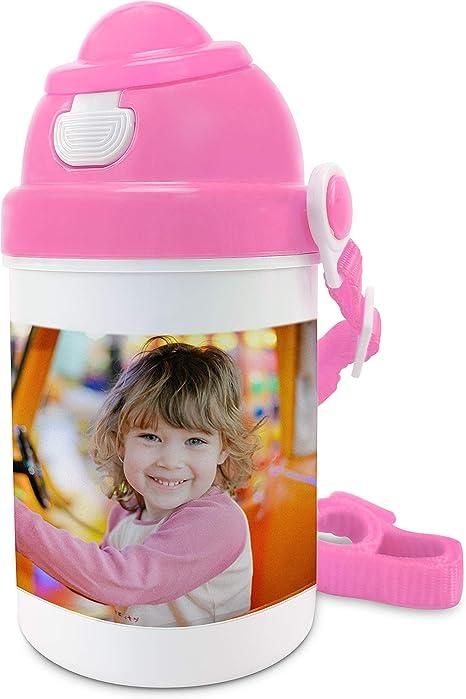 Botella Agua Niños Sin BPA Personalizada con Foto/Diseño. Regalos Infantiles Personalizados. Tapón Plástico Libre de BPA. Rosa: Amazon.es: Hogar