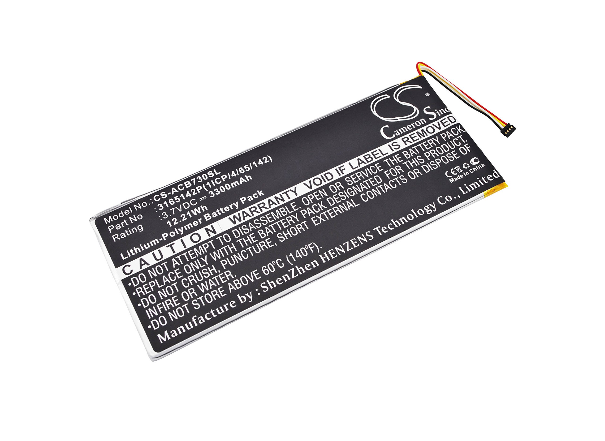 Cameron Sino 3300mAh / 12.21Wh Replacement Battery for Acer Iconia One 7 B1-730HD