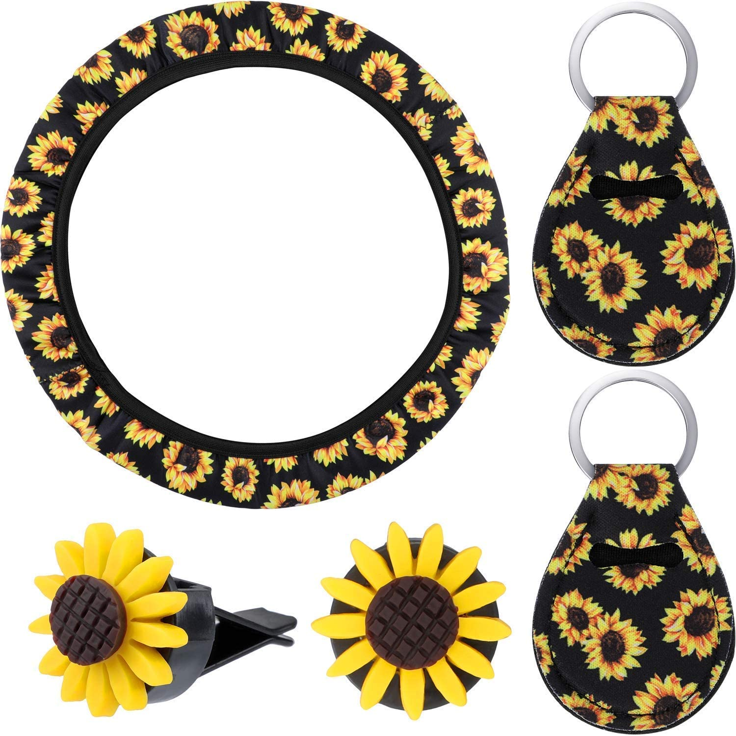 Moligh doll 6Pcs Steering Wheel Cover with Sunflower Steering Wheel Cover Sunflowers Keyring Car Vent and Seat Belt Cover Car