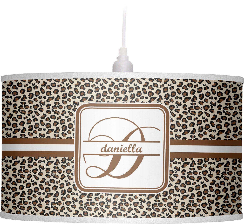 RNK Shops Leopard Print Drum Pendant Lamp Linen (Personalized) by RNK Shops
