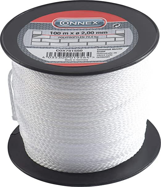 Connex COX781550 -Cordón trenzado de propileno, 100 mx diámetro 2 mm