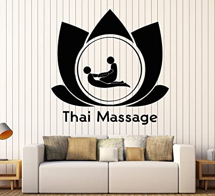 Amazon.com: Vinyl Wall Decal Thai Massage Signboard Lotus ...