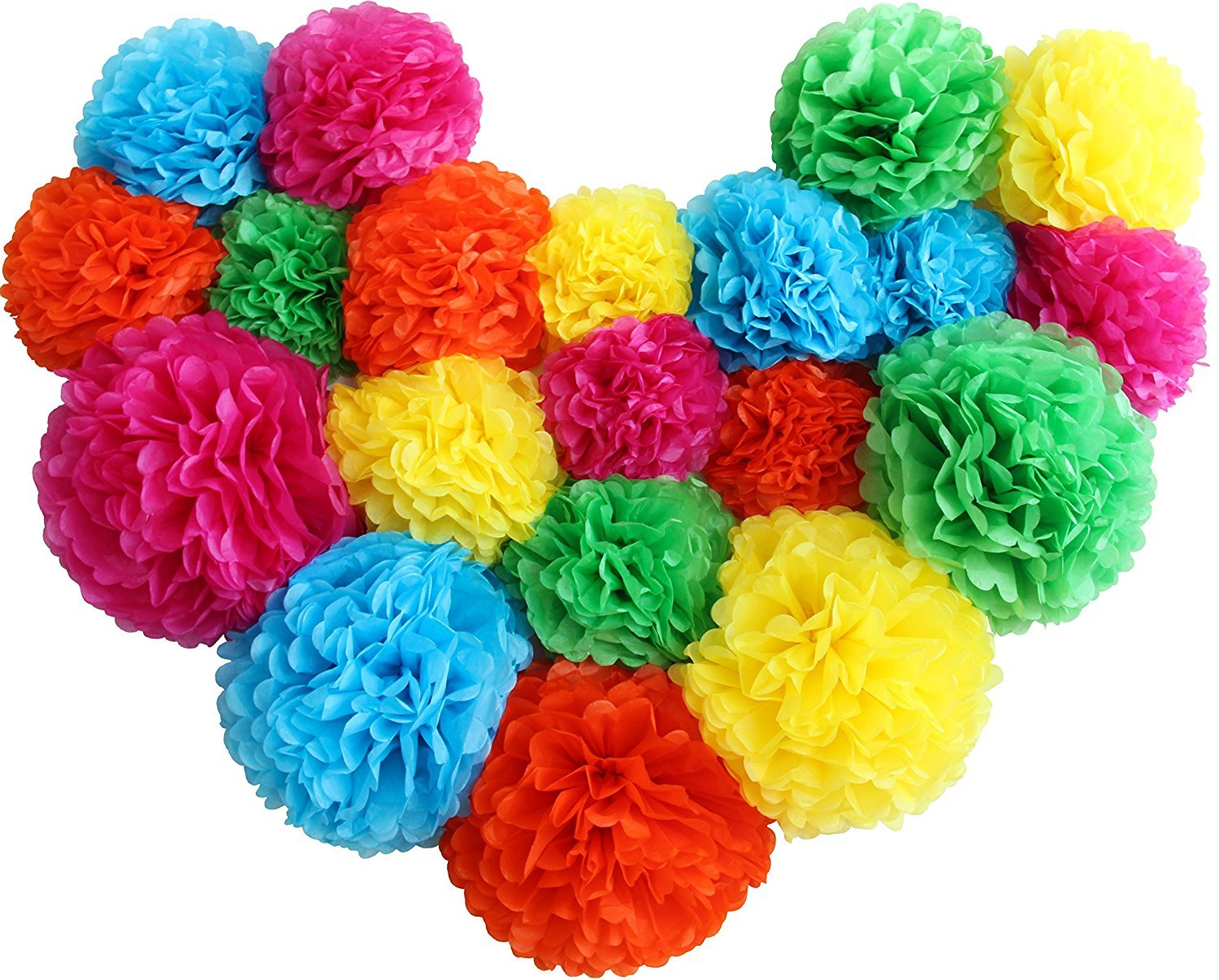 Monkey Home Paper Pom Poms Rainbow Decor- 20 pcs of 8, 10, 14 Inch - Paper Flowers - Perfect For Wedding Decor - Birthday Celebration - Table and Wall Decoration (Multi Colored)