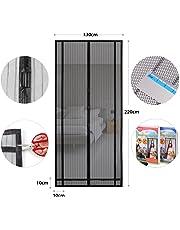 Sekey Rideau magnétique anti-insectes idéal pour porte de balcon, porte de cave, porte de terrasse (découpable en hauteur et largeur) - Montage facile à coller - 220 x 130 cm - Noir