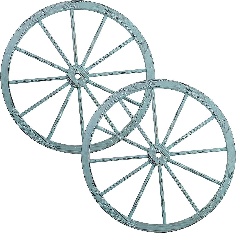 Patio Premier 412012 Wooden Wagon Wheel, Turquoise