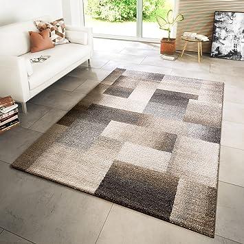 Hochwertig TT Home Teppich Modern Wohnzimmer Webteppich Style Modern Karo Meliert Beige  Creme Grau, Größe:
