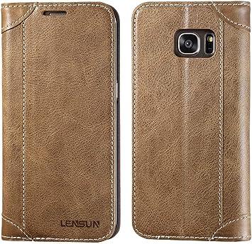 LENSUN Funda Galaxy S7 Edge, Funda de Piel para Samsung Galaxy S7 ...