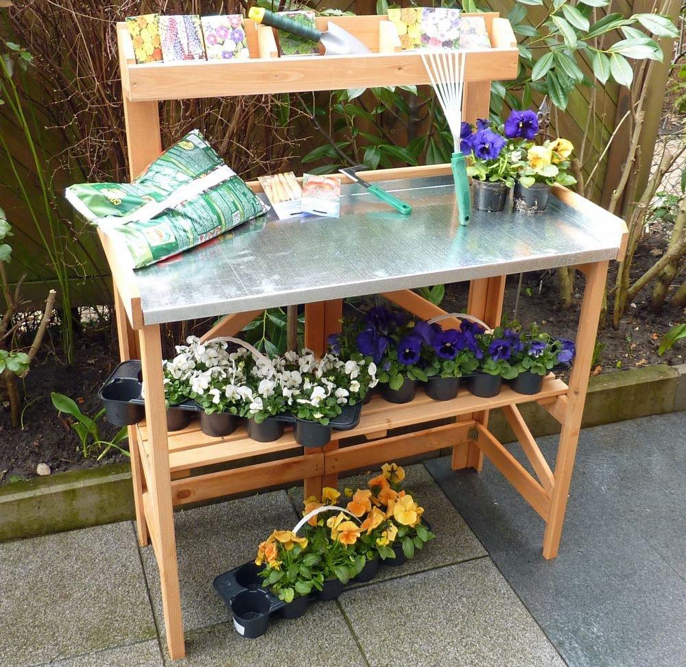 Pflanztisch klappbar mit Ablage verzinkte Arbeitsfläche Arbeitstisch