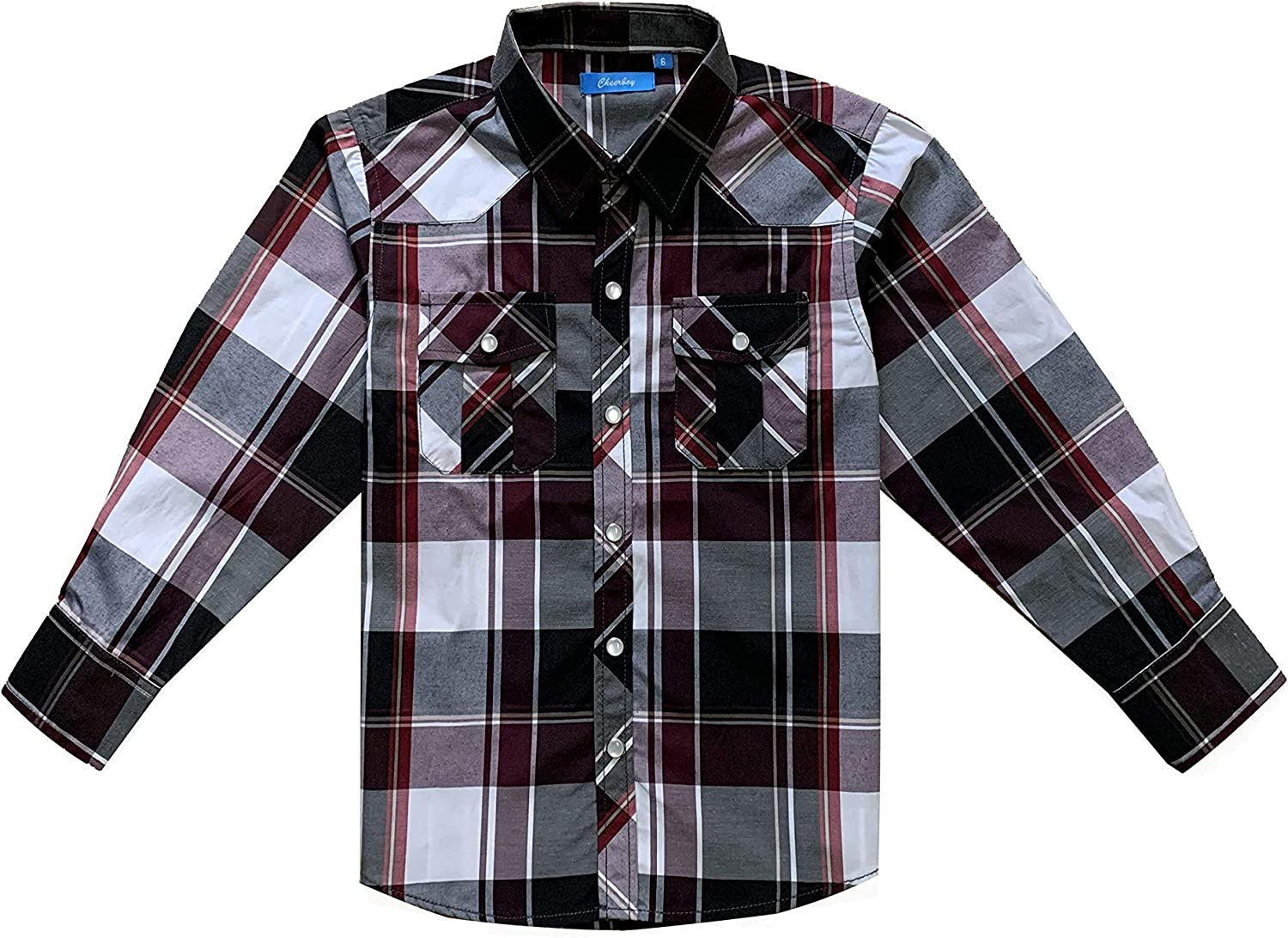 Boys Toddler Kids Casual Long Sleeve Western Pearl Snap Button Plaid Shirt 4-16 Years