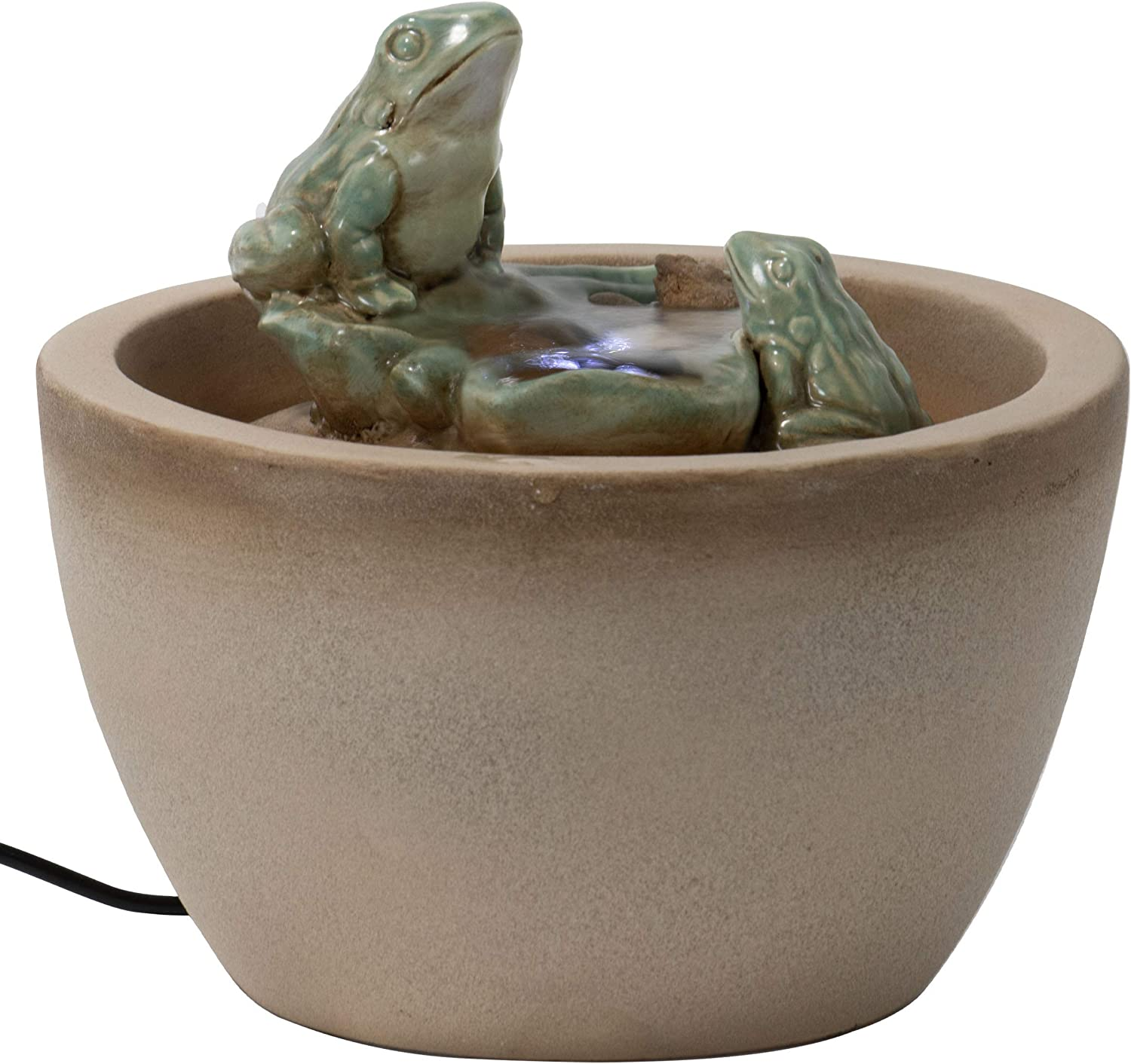 Foreside Home and Garden Multicolor Ceramic Frog Indoor Water Fountain with Pump