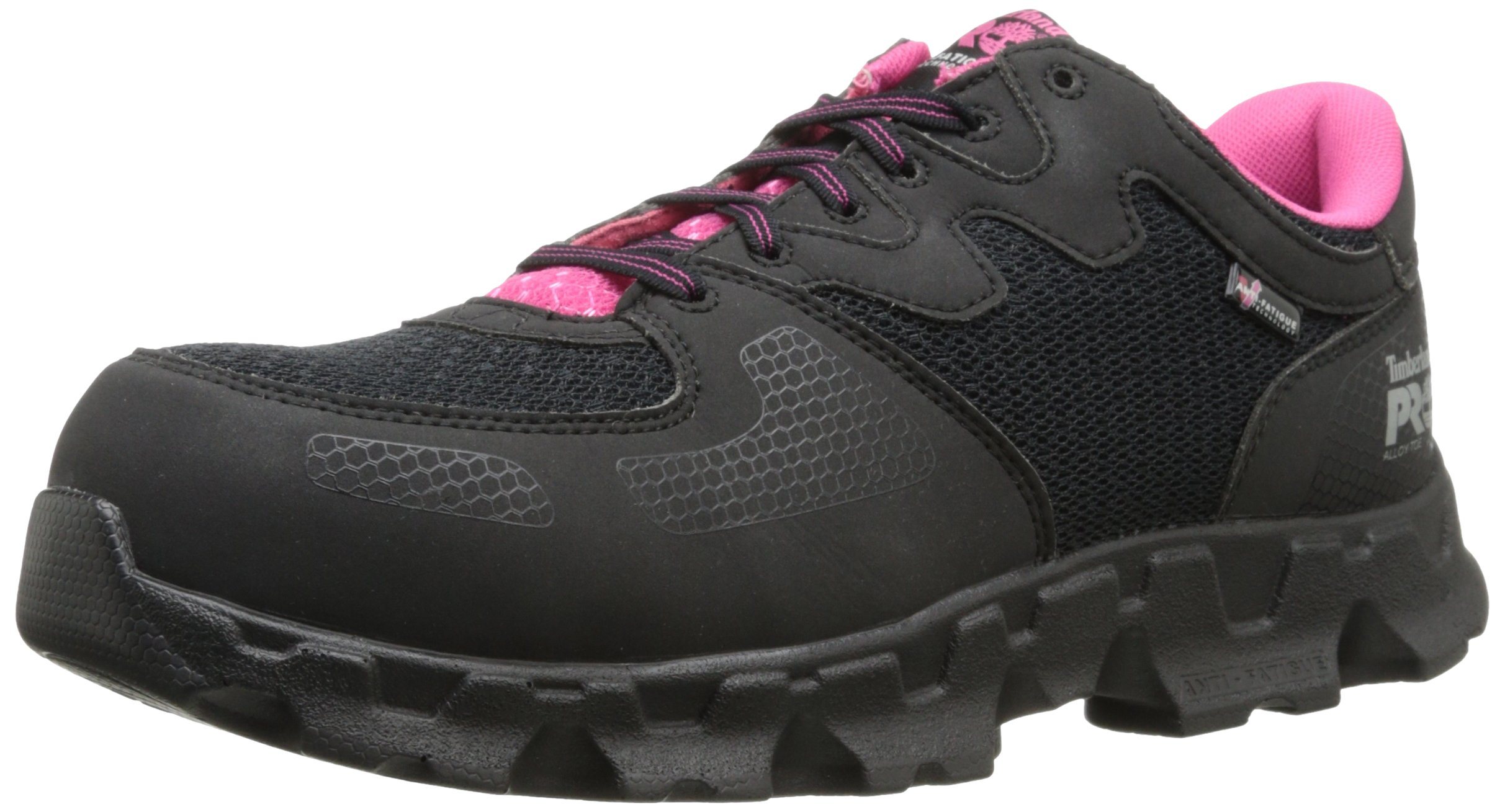 Timberland PRO Women's Powertrain Alloy Toe ESD W Industrial Shoe,Black/Pink Microfiber And Textile,7.5 M US