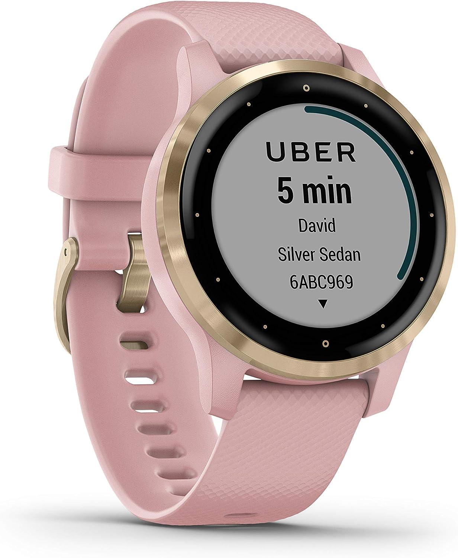 Garmin vívoactive 4S - Reloj Inteligente con GPS y Funciones de Control de la Salud Durante Todo el día, Color Rosa de Polvo/Oro Claro 010-02172-32