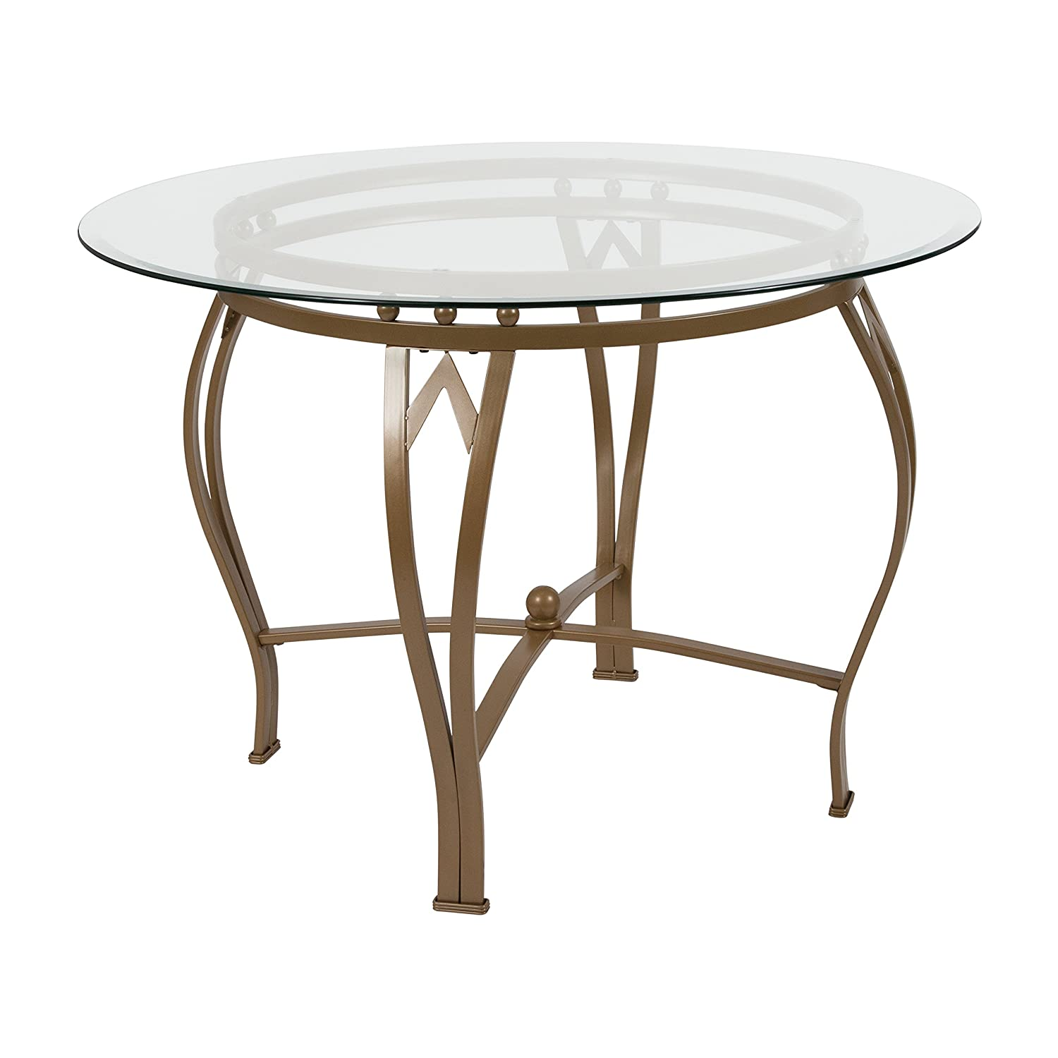 Flash Furniture Syracuse 42 Round Glass Dining Table with Matte Gold Metal Frame