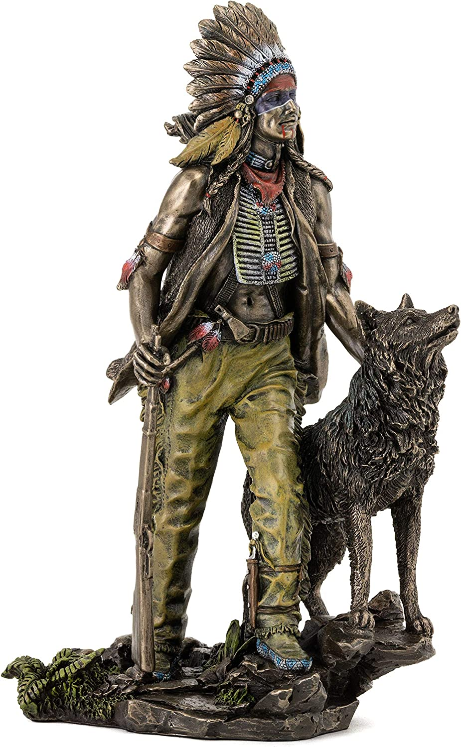 Top Collection Plains Indian Statue - Native American with Hunting Companion Sculpture in Cold-Cast Bronze with Color Accents - 11.5-Inch Collectible Indigenous Figurine