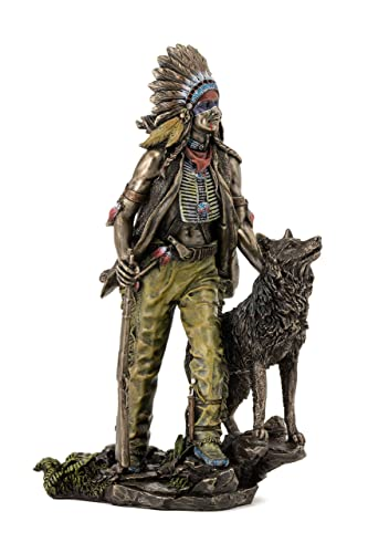 Top Collection Plains Indian Statue – Native American with Hunting Companion Sculpture in Cold-Cast Bronze with Color Accents – 11.5-Inch Collectible Indigenous Figurine