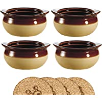 Brown and Ivory Porcelain Onion Soup Crock Bowl - Set of 4 with Cork Coasters