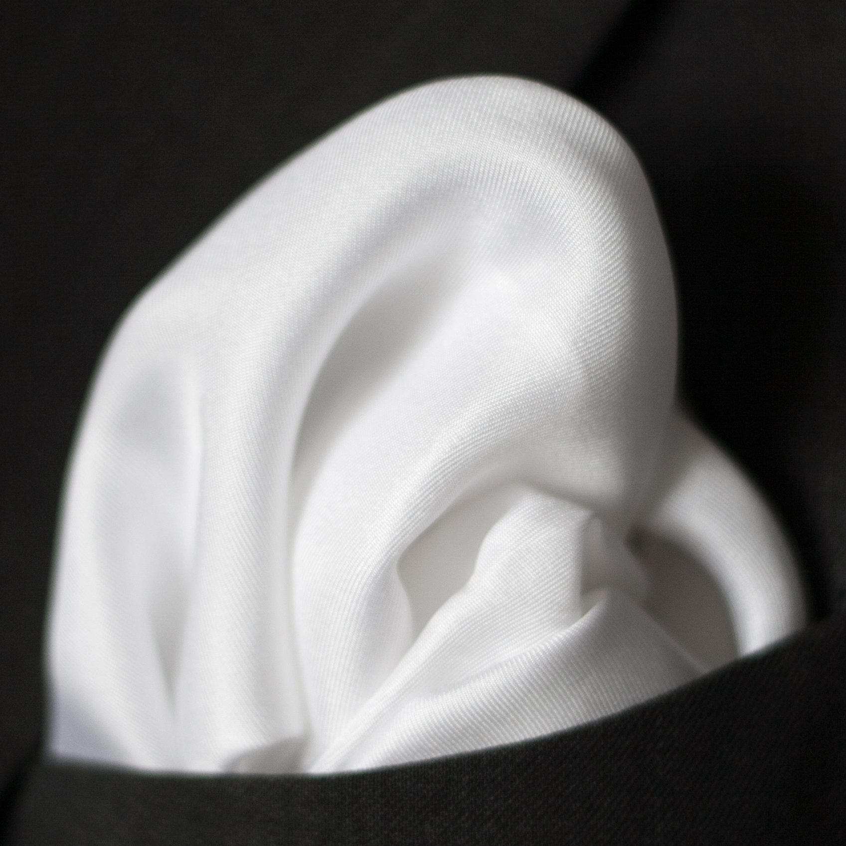 Fine White Silk Pocket Square by Royal Silk - Full Sized 17'' x 17''