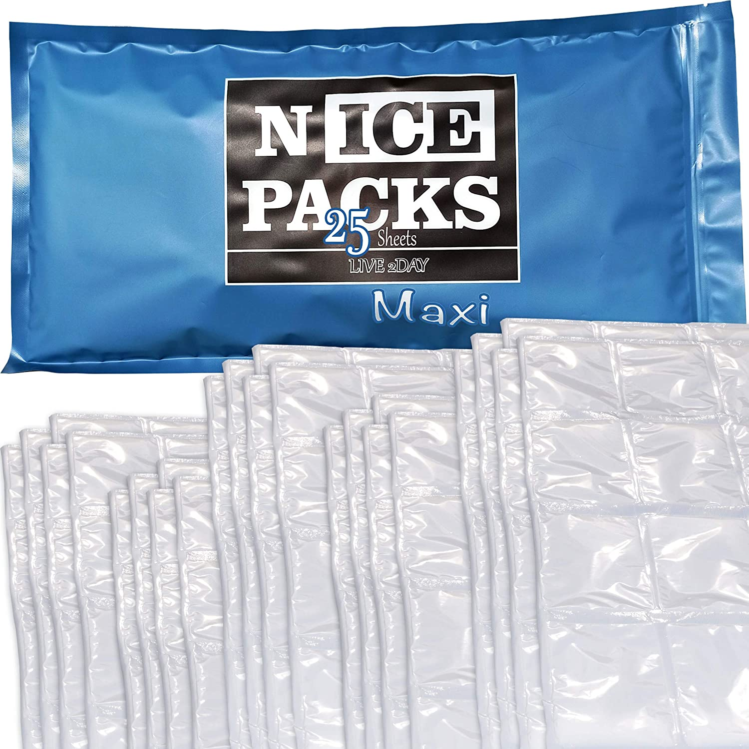 LIVE 2DAY Dry Ice Packs for Coolers – Lunch Box Ice Packs – Dry Ice for Shipping Frozen Food – Ice Packs for Kids Lunch Bags – Reusable Nice Packs – 25 Large Sheets – Long Lasting - Most Economic Pack
