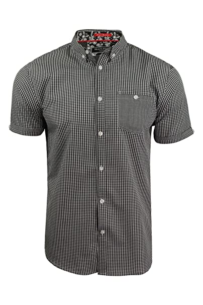 b6cfaaed83158 Brave Soul Mens Gingham Shirt Clement  With Buton Down Collar (Black) S