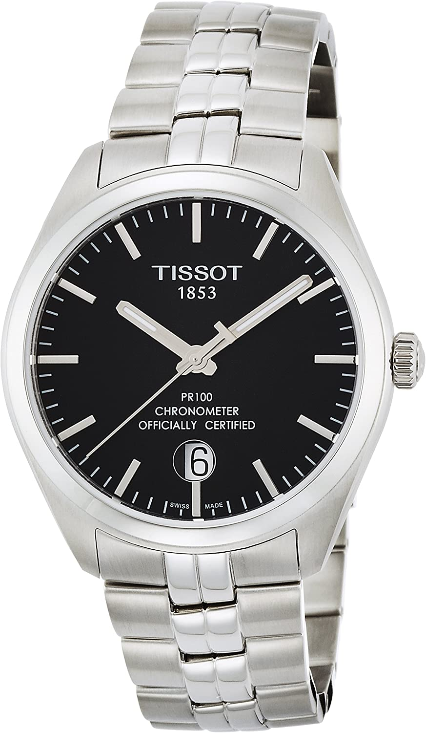 Tissot PR 100 COSC Black Dial Stainless Steel Mens Watch T1014511105100