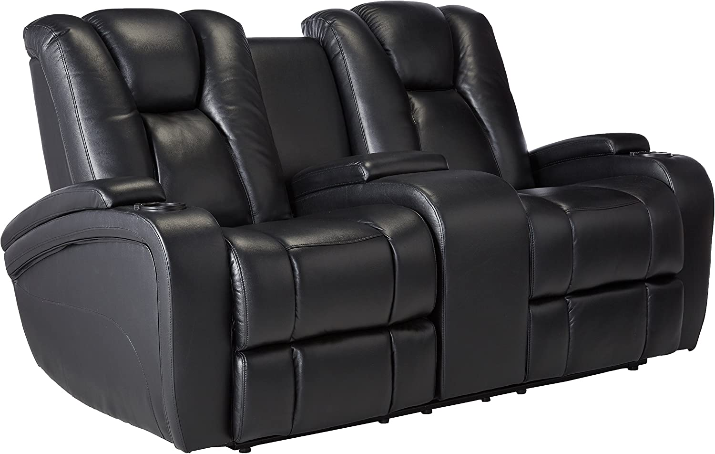 Delange Reclining Power Loveseat With Adjustable Headrests And Storage In Armrests Black Furniture Decor