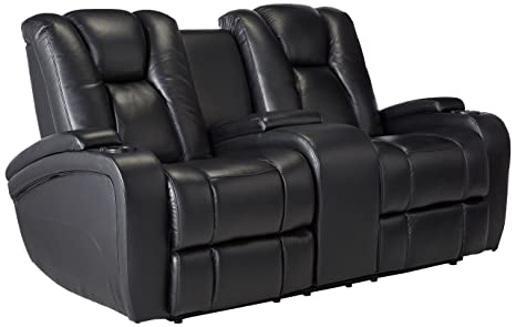 Delange Reclining Power Loveseat with Adjustable Headrests and Storage in Armrests Black