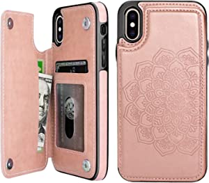 ACXLIFE iPhone X Case/iPhone Xs Case,X/Xs Wallet Credit Card Holder Case,Protective Cover with Card Slot Holder and Leather Case for iPhone X/Xs 5.8Inch(Rosegold)