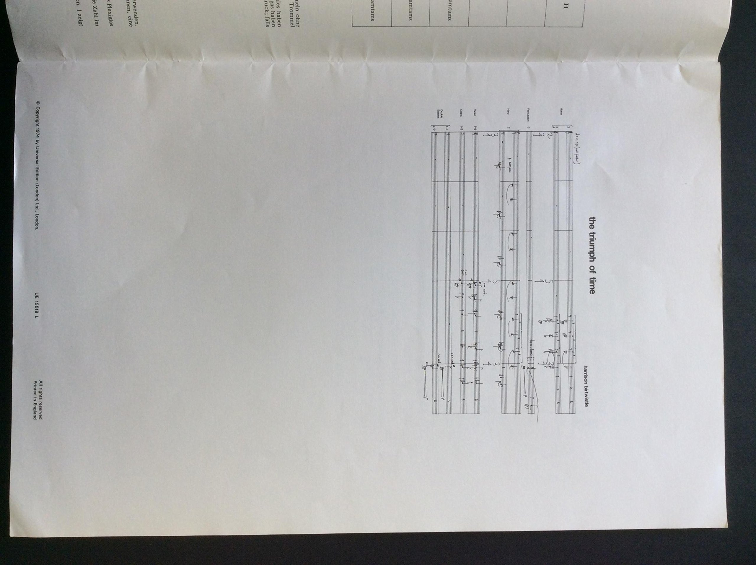 Birtwistle, Harrison. (b. 1934): The Triumph of Time Full Score