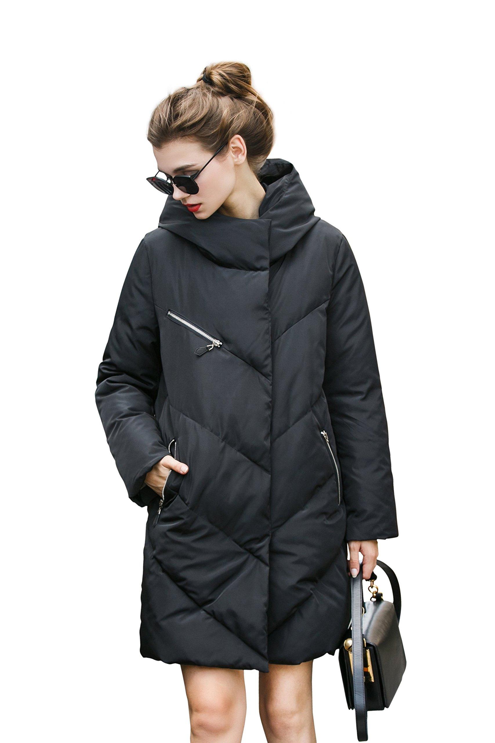 Winter Jacket Coat Women Anorak Long Black Puffer Down Coat Thick Snow Waterproof Coat Bubble Quilted Cute Coat Warm Over Casual Coat Trendy Designer Coat Fashion Padded Large Coat Knee Heavy Coat M
