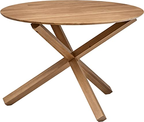 Rivet Mid-Century Modern Wood Round Dining Kitchen Table, 29.5 Inch Height, Beige