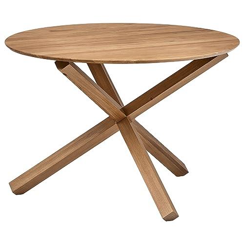 Rivet Mid-Century Modern Wood Round Dining Kitchen Table, 29.5 Inch Height, Beige