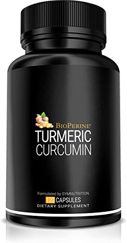 Turmeric Curcumin 1350mg, 95 Curcuminoids 150mg, Black Pepper BioPerine 15mg – 120 Count V-Capsules 40 Servings Manufactured in a cGMP-registered facility in USA Non-GMO, Vegan Gluten Free