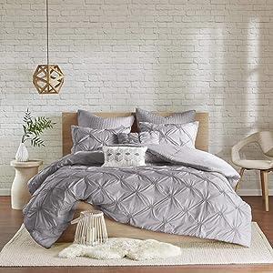 "Urban Habitat Comforter Set, Modern Lifestyle Design All Season Down Alternative Bedding, Matching Shams, Full/Queen(88""x92""), Talia, Pintuck Grey"