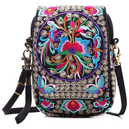 baa0d3d5ba05 Amazon.com  Embroidered Cute Mini Crossbody Bag for Women Small Handbags  wristlet wallet bag Cell-phone Pouch Coin Purse  Silkarea