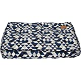 MOG & BONE Classic Cushion Dog Bed Blue Diamond Print Small