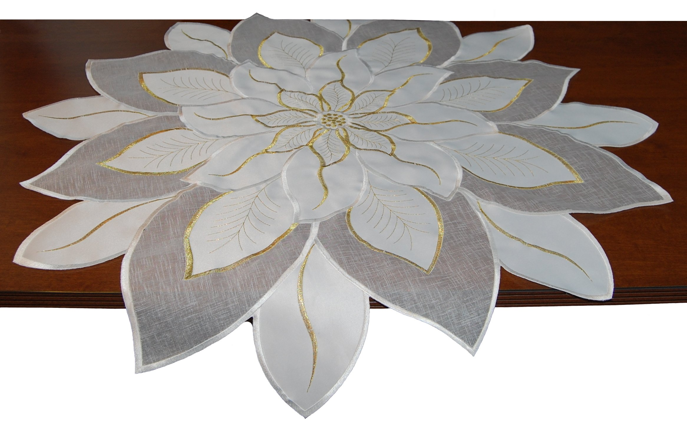 silk flower arrangements ecosol designs embroidered holiday table topper (white poinsettia)