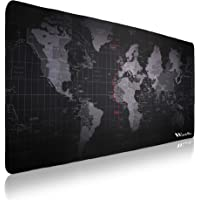 WorkWox Gaming Mouse Pad (900x400x2mm) Anti-Skid Extended Large World Map Keyboard and Mouse Pad (Size: XXL)