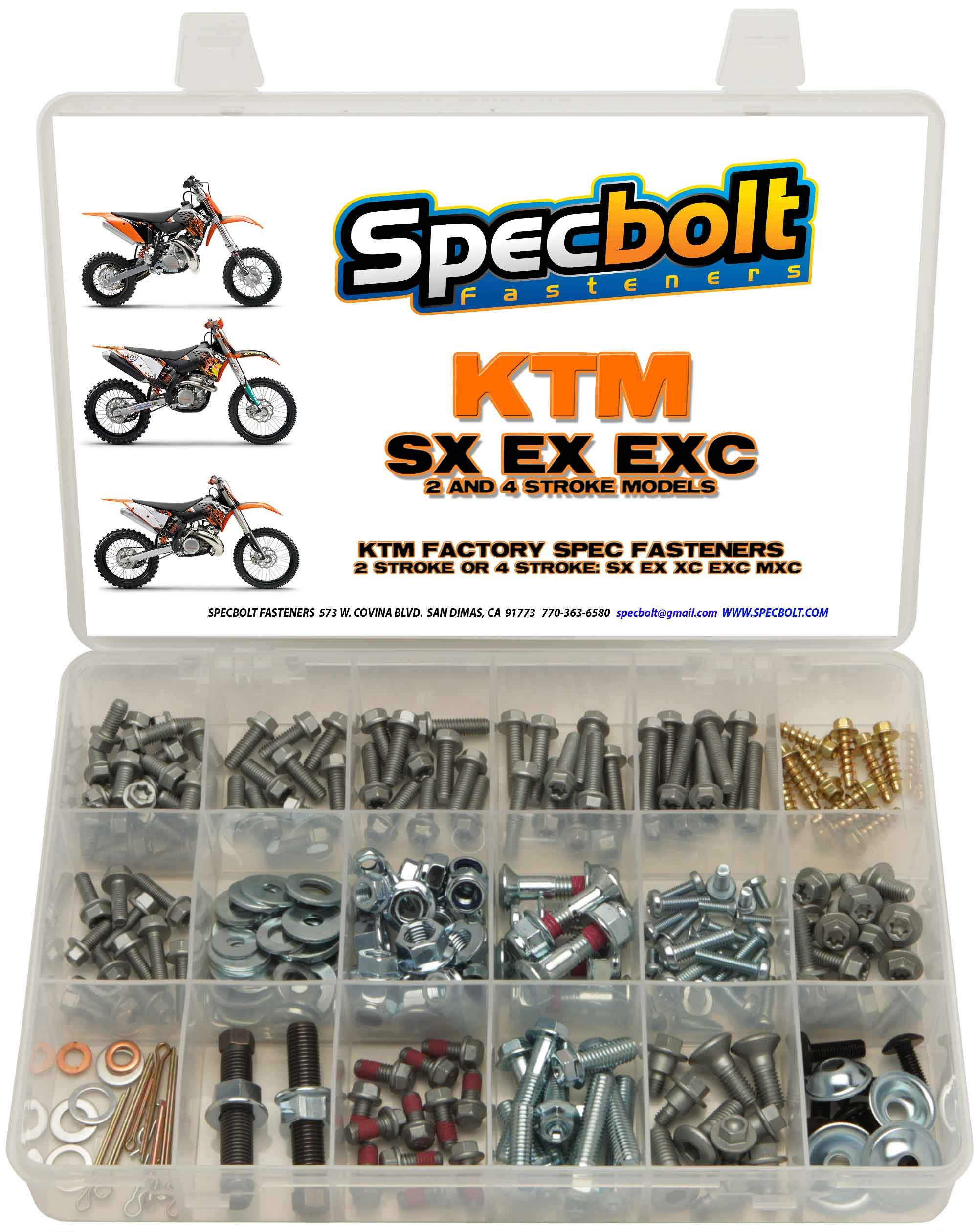 250pc Specbolt Brand Bolt Kit for Maintenance Upkeep of KTM SX EX EXC MX Dirtbike OEM Spec Fastener. This Includes 2 Strokes: 50 60 65 85 105 125 250 300 550 4 Strokes: 250 350 400 450 500 520 525 by Specbolt Fasteners