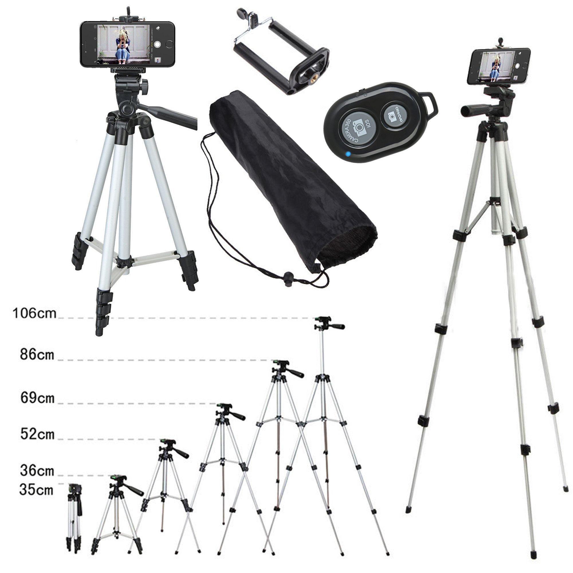 110cm Remote Controller Shutter + Portable Camera Tripod Stand Holder Adjustable Rotatable Retractable Aluminum Tripods Smartphones Mount for iPhone X 8 7 7 6s 6 Plus Samsung S7 S8 LG G6 V20 Moblie