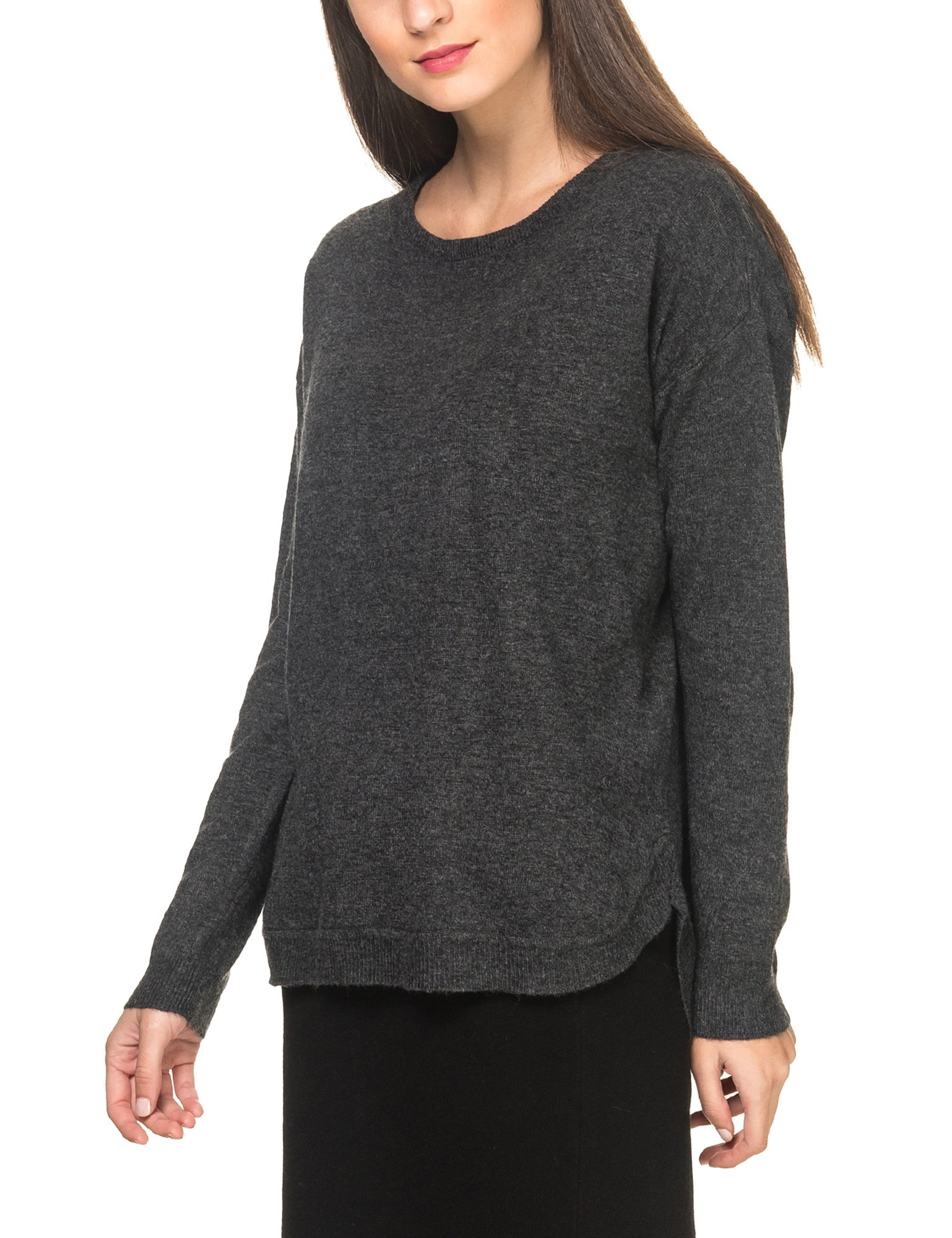 B.Young Women's Moco Women's Dark Grey Melange Pullover in Size L Grey