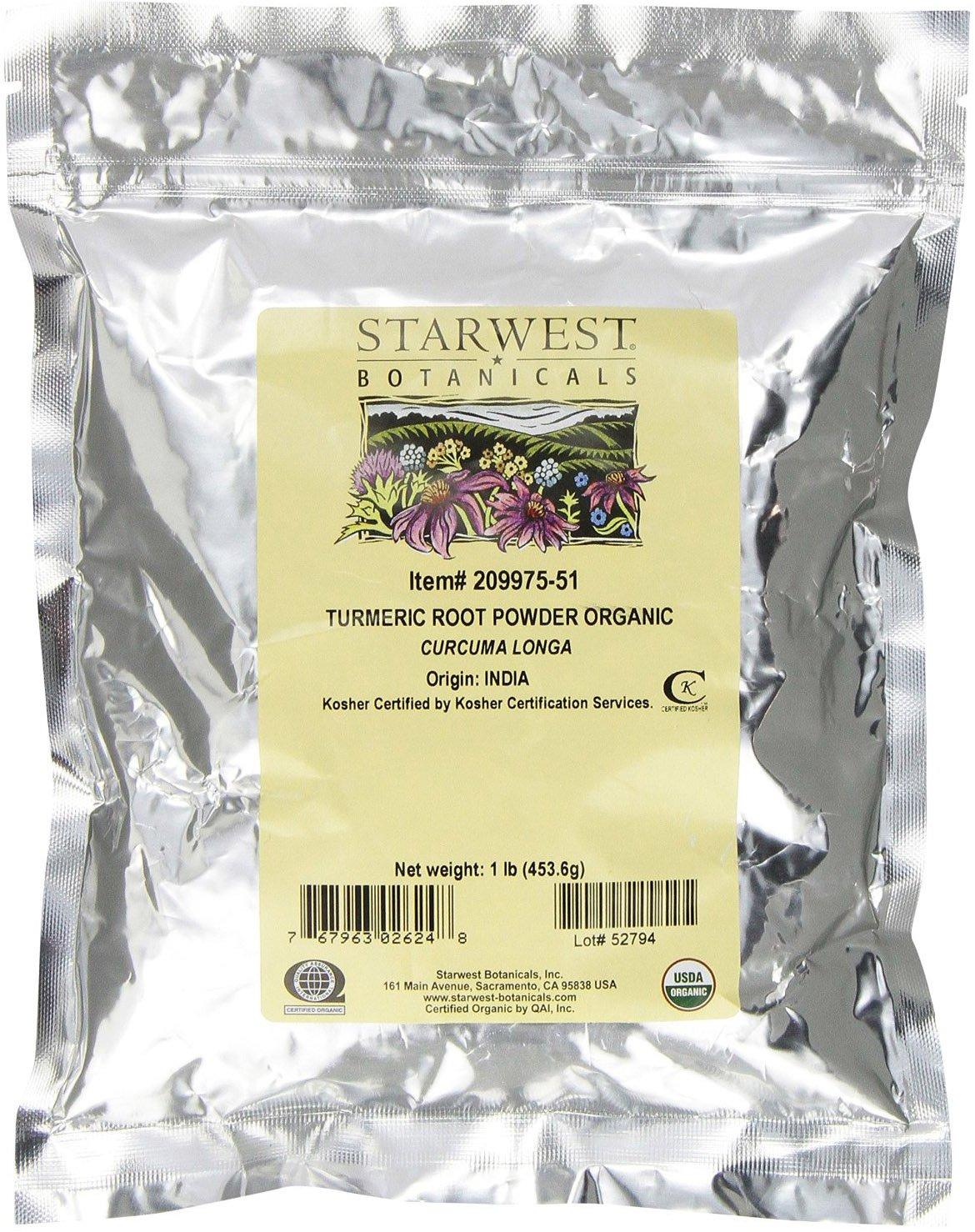 Starwest Botanicals Organic Turmeric Root Powder, 1 Pound Bulk (Pack of 2)