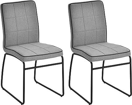 Homcom Set 2 Sedie Per Sala Da Pranzo Casa Ufficio Imbottite E Rivestite In Lino Grigio Design Ergonomico 44 X 55 X 88cm Amazon It Casa E Cucina