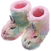 RONGBLUE Toddler Kids Girls Boys Cute Unicorn Slippers Soft Warm Plush Fleece Winter Shoes Indoor Outdoor Slip-on Rainbow Booties