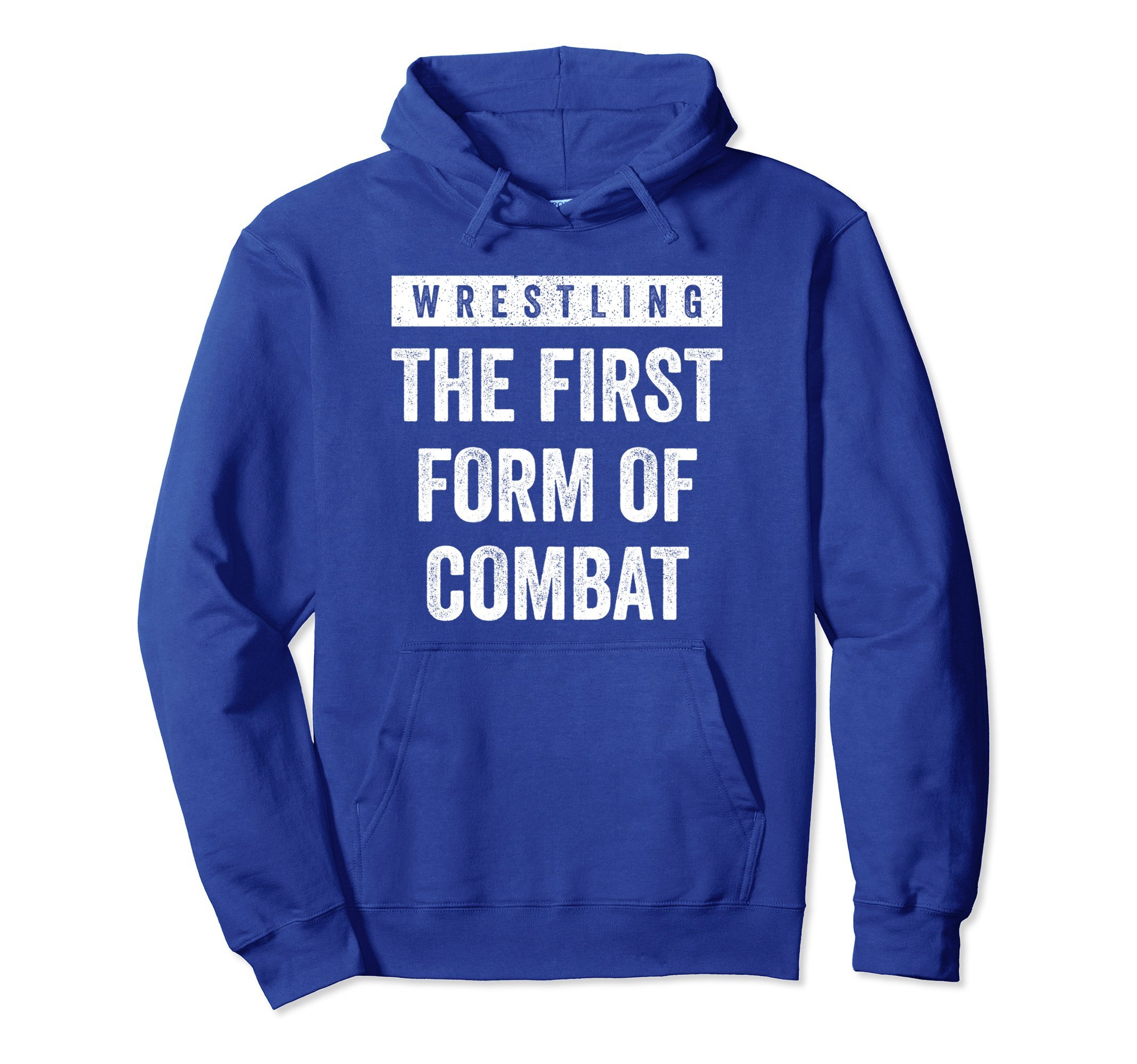 Unisex Wrestling First Form of Combat Hoodie for Wrestlers, White Small Royal Blue by Wrestling Shirts and Wrestling Shoes