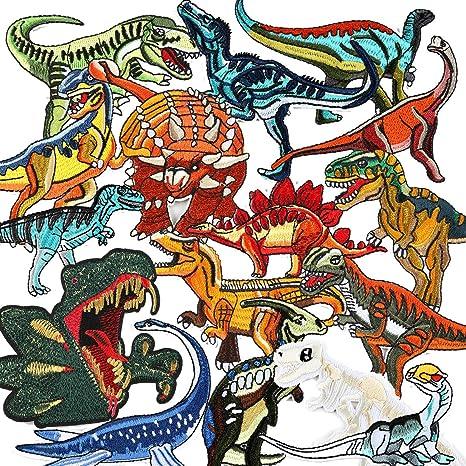 LAKIND Bügelflicken Kinder, 16 Stück Dinosaurier Aufbügelflicken Bügelbilder Aufnäher Aufbügler Kinder Flicken Patches zum Aufbügeln Bügelpatches