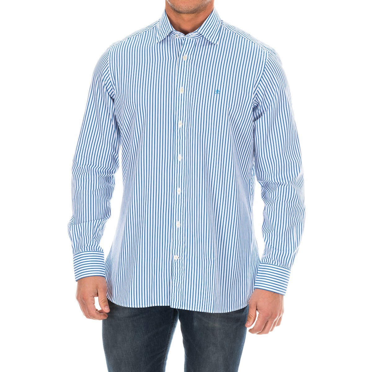 TALLA XL. Hackett London Bengal Stripe Logo Camisa, Azul (Blue 551), XL para Hombre