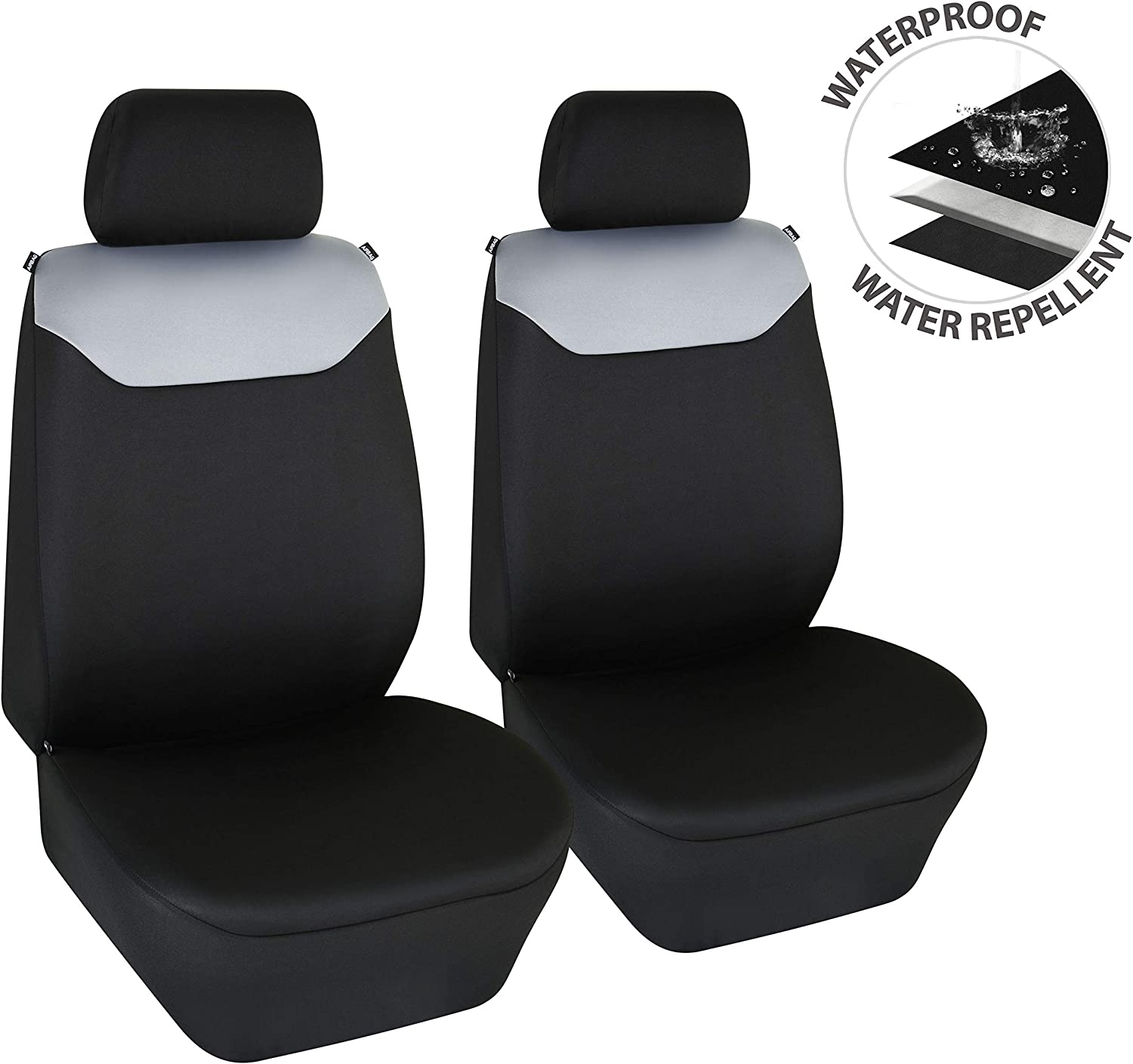 Elantrip Dual Waterproof Neoprene Front Seat Covers Car Bucket Seat Cover Universal Fit Airbag Compatible for Auto SUV Truck Van Black 2 PC
