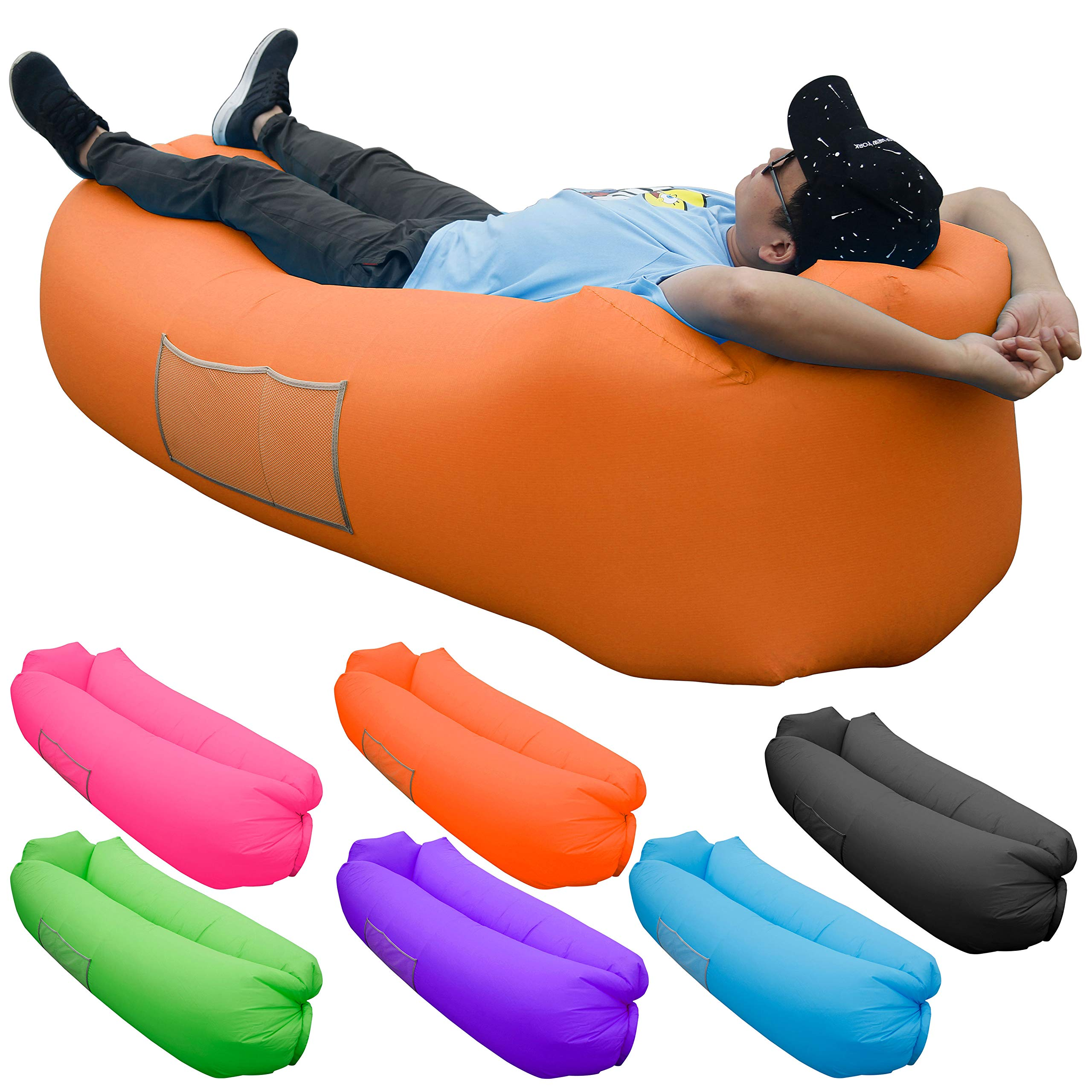 Skoloo Inflatable Lounger Air Sofa, Portable Water Proof Anti-Air Leaking & Pillow-Shaped Designed Couch for Backyard Pool Travel Camping Hiking Lakeside Picnics Music Festivals Beach Parties,Orange by Skoloo