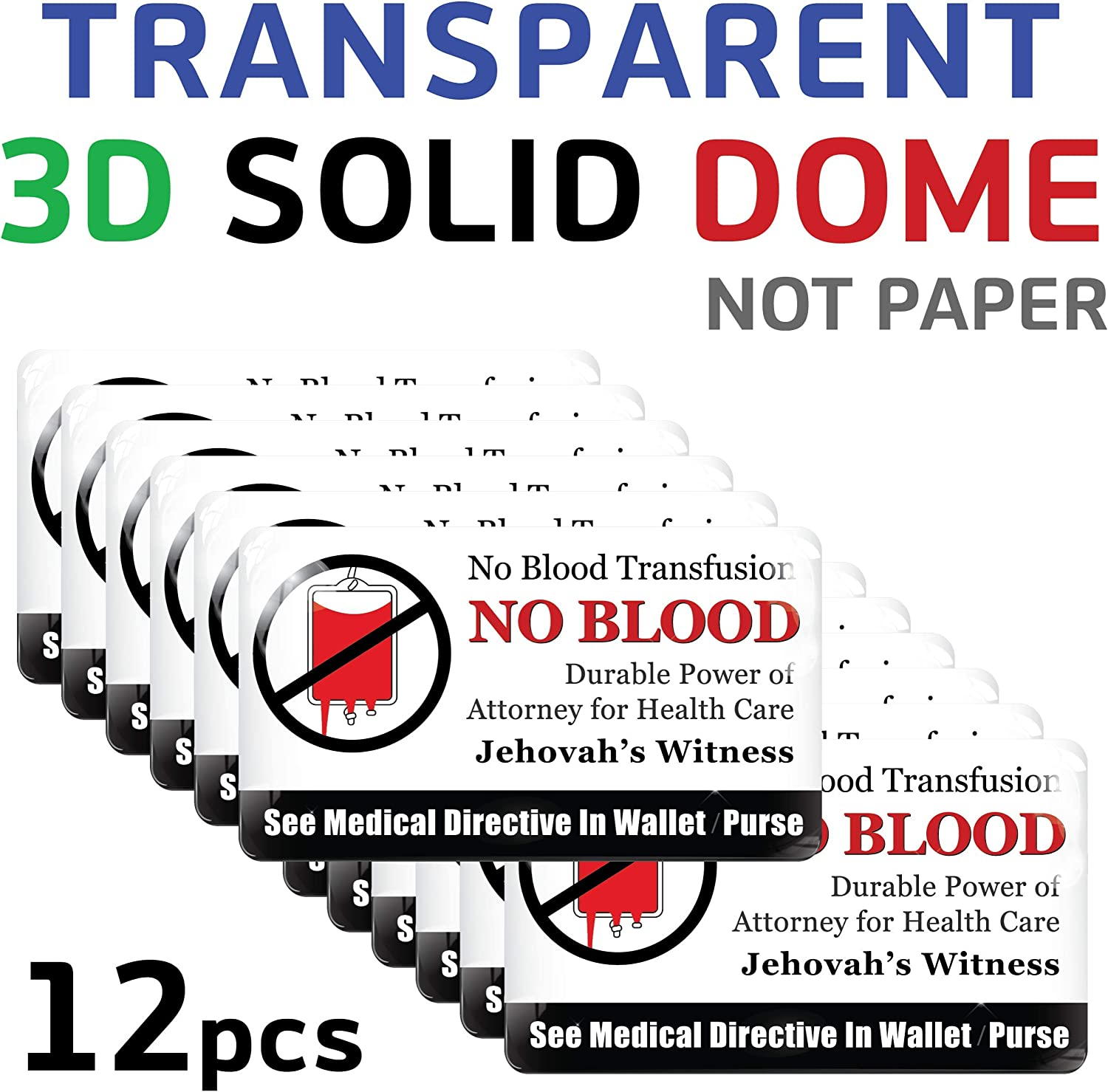Jehovahs Witnesses Ministry Supplies for JW Gifts Men and Women Accessories of Cell Phone JW.org Vongsado -3pcs- No Blood Transfusion Premium 3D Stickers Basic 3